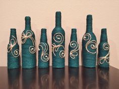 Jute twine wrapped bottles, chic decor modern decor rustic decor wine bottles center pieces