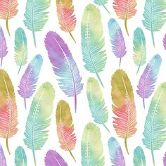 """""""Boho Feather Pattern Watercolor Rainbow"""" Photographic Prints by JannaSalak 