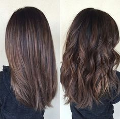 Medium Hair Styles - Chocolate brown hair with balayage, medium-length. - - Medium Hair Styles - Chocolate brown hair with balayage, medium-length. Shown straight and curly. Hair Haircuts 2019 Fashion Hair Haircuts ideas and A. Balayage Straight Hair, Brown Straight Hair, Medium Length Hair Straight, Long Length Hair, Brown Hair Balayage, Hair Color Balayage, Hair Highlights, Medium Long Layered Haircuts, Brunette With Highlights