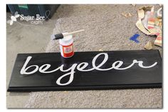 trick to crisp lines when painting over vinyl letters...put a layer of mod podge on first then paint over so that if anything seeps under it will be the clear mod podge and not the paint