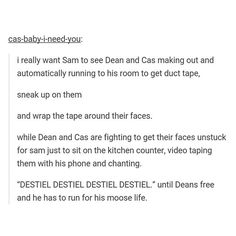 I love this! However, in this situation wouldn't Cas just disappear? & THEN Dean would chase after Sam.