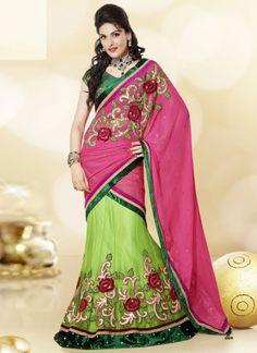 Parrot Green With Pink Designer Wedding Lehenga Choli