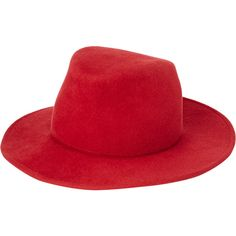 Rag & Bone Asymmetric-Crown Fedora (390 CAD) ❤ liked on Polyvore featuring accessories, hats, red, red fedora, crown hat, fur fedora, brimmed hat and red brim hat