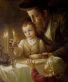 Elena Flerova -Channukah- Jewish Art Oil Painting
