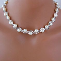 Strands Necklace - Imitation Pearl White Necklace Jewelry For Wedding, Party, Daily 2018 - Unique Ideas Can Change Your Life: Jewelry Organizer Cork Board demi fine jewelry.Classic Beautiful Wedding White Pearl Necklace perfect for every woman a Dainty Diamond Necklace, White Pearl Necklace, Pearl Bracelet, Pearl Jewelry, Wire Jewelry, Bridal Jewelry, Beaded Jewelry, Beaded Bracelets, Pearl White