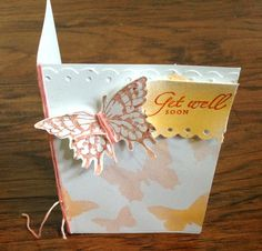 Handmade Paper Get Well Soon Greeting Card Blank by Scrapbooker429, $3.75