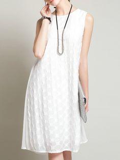 Shop Midi Dresses - Casual Jacquard A-line Sleeveless Midi Dress online. Discover unique designers fashion at StyleWe.com.