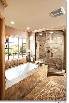 Gorgeous master bath extra large walk in shower glass - How do heated bathroom floors work ...