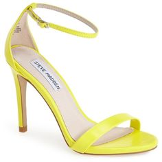 Steve Madden 'Stecy' Sandal ($30) ❤ liked on Polyvore featuring shoes, sandals, yellow smooth, neon shoes, high heel shoes, neon sandals, slim shoes and high heel sandals