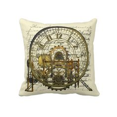 Steampunk Time Machine Throw Pillow, for the home, living room, lounge, home decor, interior design. Gears and Cogs with a Mechanical, engineering or steampunk theme. Metal, machinery, industrial and steampunk gift products for sale.