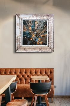 Large print on canvas in pressed steel frame. The antique pressed steel frame with it's beautiful patina lends texture and authenticity to this architectural scene. Framed Canvas Prints, Canvas Frame, Steel Frame House, Ceiling Panels, Large Prints, Authenticity, Upcycle, Reflection, Scene