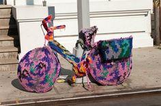 Guerilla knitting, street art, yarn graffiti, yarn bombing, Sarah Gonzalez, crafting,Knitting graffiti crews,