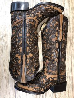 Corral Women's Full Overlay & Studs Brown Square Toe Western Boots Cow Girl, Western Wear, Western Boots, Western Style, Corral Cowgirl Boots, Black Cowgirl Boots, Cowboy Boots Square Toe, Cowgirl Chic, Cowgirl Bling