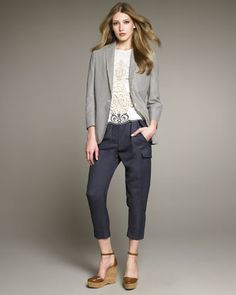 Seersucker Jacket, Embroidered Eyelet Shell & Cargo Pants by Stella McCartney at Neiman Marcus. Seersucker Jacket, Tailored Jacket, Blazer Outfits, Cargo Pants, Her Style, Passion For Fashion, Neiman Marcus, Stella Mccartney, Clothes For Women