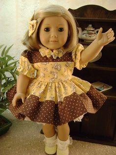 Bunny Hop Dress for American Girl Kit or Ruthie Also Chatty Cathy Dolls Handmade USA $27.99