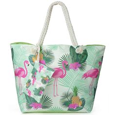 d19d0c68e18b0 Große wasserdichte Strandtasche mit Reissverschluss in angesagtem Flamingo  Design