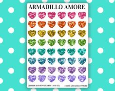 Small Rainbow Glitter Heart Planner Stickers
