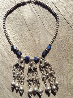 Ethiopian antique silver Orgobba wedding pendants necklace with Afghan lapislazulli and asian silver beads.Fertility symbols, Boho necklace. by Shebastreasures651 on Etsy