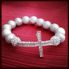 Side Cross Bling Bracelet  Silver by BlingaliciousBeads on Etsy, $28.00