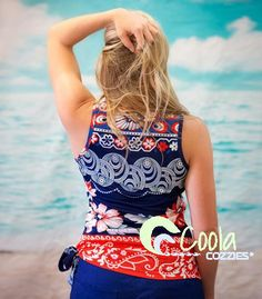 Coola Cozzies women's swim top in sizes 10 to 24. Island Girl.  #womensswimwear #swimwear #coveredswimwear