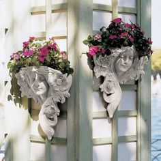 Design Toscano Le Printemps and Le Etoile French Greenmen Wall Sculptures Planter Pockets, 15 Inch, Set of Two, Polyresin, Antique Stone Garden Wall Planter, Head Planters, Garden Art, Garden Ideas, Concrete Planters, Art Nouveau, Wall Ornaments, Black Flowers, Garden Statues