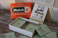 Vintage Flash Card Set  Retro Dolch Match Set 2  par AudreyBlissful