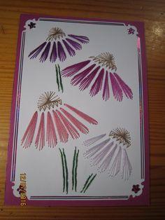 Yksi ensimmäisiä kortteja joita olen tehnnyt kirjailemalla.