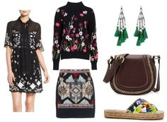 Products: Dress, Sweater, Skirt, Earrings, Bag, Shoes.