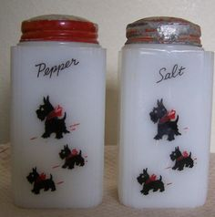 I rescued a Scotty juice glass from my dad's basement. Must have been a Scotty love.   Vintage Scottie Dog salt and pepper