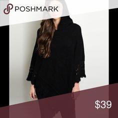 Black Hooded Poncho This adorable black poncho features fringed ends and hood. 100% Acrylic Perfect Winter Season addition for your wardrobe (This closet does not trade or use PayPal) Sweaters Shrugs & Ponchos