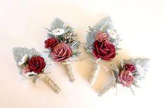 Mens Boutonniere Mauve Boutonniere Burgundy Wedding Rose
