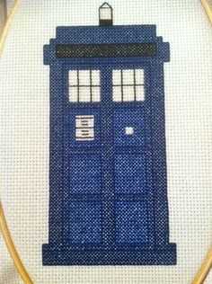 """likesirensinthenight:  I can't decide if I should do the """"All of time and space"""" or not because it would look so good just centered in the hoop. And I'm holding off on doing the POLICE BOX lettering because I'm afraid it will ruin the whole thing. But either way, it looks pretty awesome."""