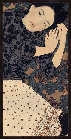 Contemporary Artist: Ikenaga Yasunari (b. ) -Ikenaga Yasunari (right) with collector and recent painting Born in artist Ikenaga Yasunari's serene and soothing portraits of modern women. Kunstjournal Inspiration, Art Asiatique, Photo D Art, Japanese Painting, Japanese Prints, Japan Art, Japan Japan, Oeuvre D'art, Pose Reference