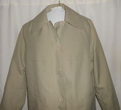 MISTY HARBOR Coat ANY WEATHER Women Sz 8 Tan Lining Trench Knee Length Lng Slv #MistyHarbor #Trench