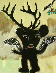 Forest Angel Outsider T Marie Nolan Raw Folk Art Brut Original Painting | eBay