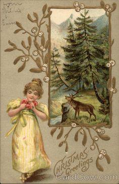 Divided Back Postcard Christmas Greetings Children Gold Christmas Ornaments, Gold Christmas Decorations, Kids Christmas, Christmas Crafts, Vintage Christmas Images, Victorian Christmas, Christmas Pictures, Vintage Images, Vintage Cards