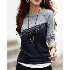 $3.98 Casual Jewel Neck Color Splicing Diamonds T-Shirt For Women
