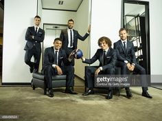 Footballers Javier Pastore, Thiago Silva, Salvatore Sirigu, David Luiz and Yohan Cabaye are photographed for Paris Match on August 28, 2014 in Paris, France.
