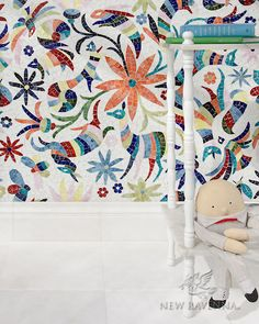 Otomi handcut jewel glass mosaic in Absolute White, Peridot, Aventurine, Lapis Lazuli, Sardonyx, Citrine, and Ruby | The Kiddo Collection by Cean Irminger for New Ravenna