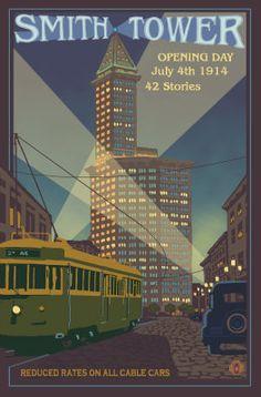 Smith Tower Seattle Washington Travel Poster - Aaron Morris