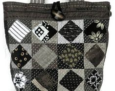 Quilted Sashiko Tote, Japanese Patchwork tote bag, Patchwork Applique quilt purse, Handquilted Black bag, Black and White quilt bag