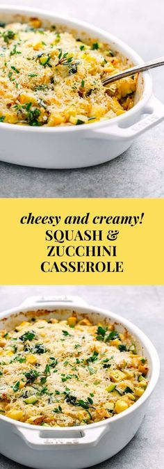 creamy and cheesy summer squash casserole is made from fresh ingredients and without canned soup or egg. It's one of my favorite ways to serve summer squash for a crowd-pleasing side dish. Summer Squash And Zucchini Recipe, Summer Squash Recipes, Summer Recipes, Squash Zucchini Recipes, Summer Squash Bake, Stuffed Summer Squash, Summer Squash Salad, Side Dish Recipes, Vegetable Recipes