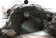 Vintage Black Straw Pillbox Hat with Veil by AshevilleHandmade, $35.00