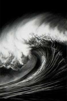 """Buy, bid, and inquire on Robert Longo: Waves on Artsy. """"The shape of a wave is not necessarily dictated by how strong the wind is,"""" Robert Longo once explained. Charcoal Art, White Charcoal, Charcoal Drawings, Surf Mar, Waves Photography, Scratchboard, New York Art, Black And White Photography, Amazing Art"""