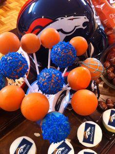 Cake pops Denver Broncos birthday theme
