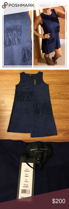 "NWT Faux Suede Romeo &Juliet Couture Fringe dress 📦 Same day shipping (excluding Sun/holidays or orders placed after P.O. Closed) ❓Please ask any questions prior to buying. I want you to be 💯% Happy❣  This dress is nothing but chic! Gorgeously soft faux suede in navy blue, asymmetrical hem & fringe. Modeling size M. Measurements for reference: 5'7"", 34DD, 28"" waist, 40"" hips. Flat measurements for small: 17.5"" across chest, 32"" long at shortest, 34"" long at longest point. I also have this…"