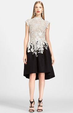 One of the loveliest dresses I've ever seen! Oscar de la Renta Lace & Silk Dress available at #Nordstrom Silk Skirt, Silk Dress, Irish Lace, Evening Attire, White Gowns, Fashion Fabric, Dress Fashion, Fashion Outfits, High Fashion