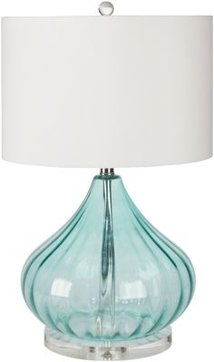 Standing at 25 inches tall, this elegant Atlantis Aqua lamp with its' gourd-like shape and clear acrylic accented base and finial, would be a wonderful subtle coastal accent in your beach home.