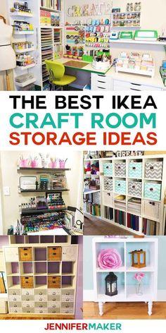 The Best IKEA Craft Room Storage Ideas and Shelves   Kallax, Expedit, Linnmon, Alex, and more! #ikea #craftroom #storage via @Jennifer Maker ❤️ DIY Home Decor + Craft Tutorials
