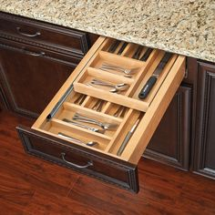 Double up your drawer space with this Rev-A-Shelf Double Tiered Cutlery Drawer with Soft-Close Slides.